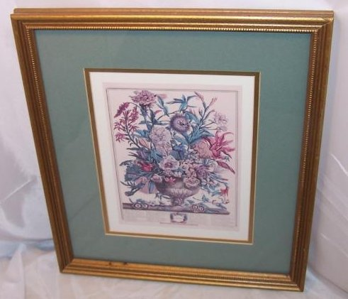 Winter Bouquet, Victorian Reproduction Lithograph, Framed