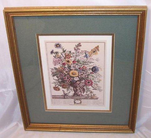 Image 0 of     Winter Bouquet, Victorian Reproduction Lithograph, Framed