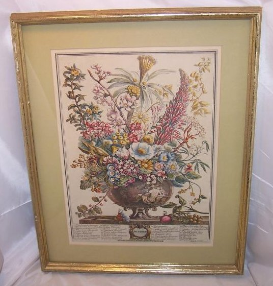 December Bouquet, Furber, Victorian Repro Lithograph, Framed