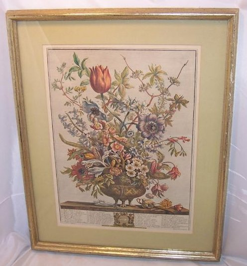 February Bouquet, Furber, Victorian Repro Lithograph, Framed