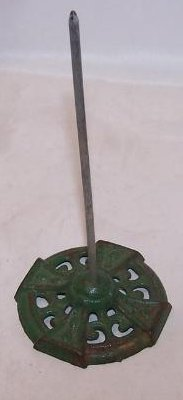 Image 3 of Bill, Note, Receipt Spike on Green Cast Iron Base, Antique