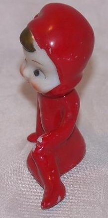 Image 1 of Elf Pixie Lounging in Red Suit, Porcelain, Japan