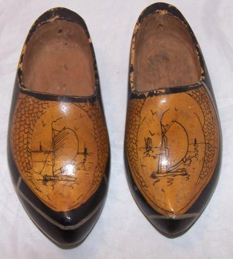 Image 0 of Wooden Shoes, Clogs, w Hand Drawn Ships, Unusual