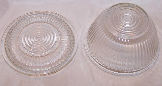 Image 2 of Glass Refrigerator Dish w Lid, Round Clear w Ridged Pattern