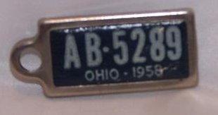 License Plate Key Chain, 1958, AB 5289