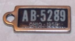 Image 2 of License Plate Key Chain, 1958, AB 5289