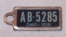 License Plate Keychain Tag, 1958, AB 5285