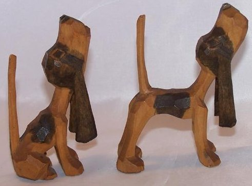 Image 1 of Howling Hunting Hound Dogs, Hand Carved Wood, Folk Art