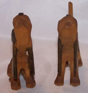 Image 3 of Howling Hunting Hound Dogs, Hand Carved Wood, Folk Art