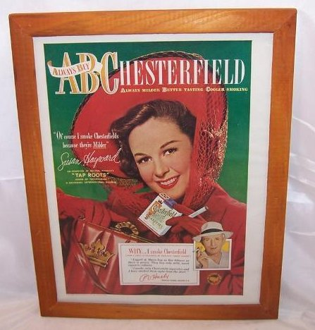 Chesterfield Cigarettes Vintage Print Ad Susan Hayward 1948