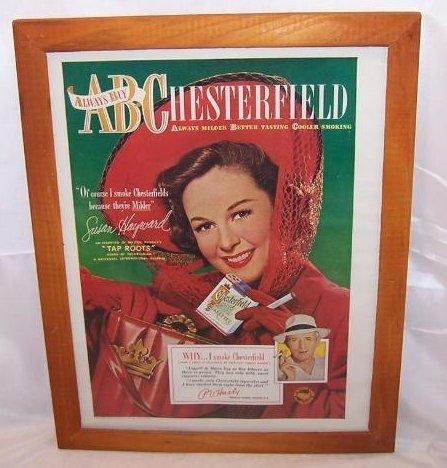 Chesterfield Cigarettes Vintage Print Ad Susan Hayward 1948