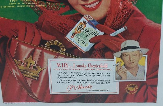 Image 1 of Chesterfield Cigarettes Vintage Print Ad Susan Hayward 1948
