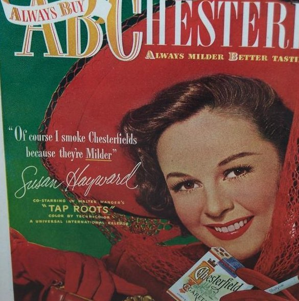 Image 2 of Chesterfield Cigarettes Vintage Print Ad Susan Hayward 1948