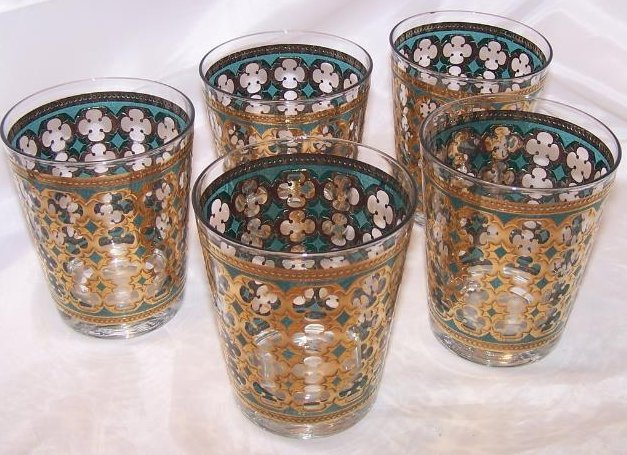 Gold, Blue Design Five Glass Cup Tumbler Set, II Washington