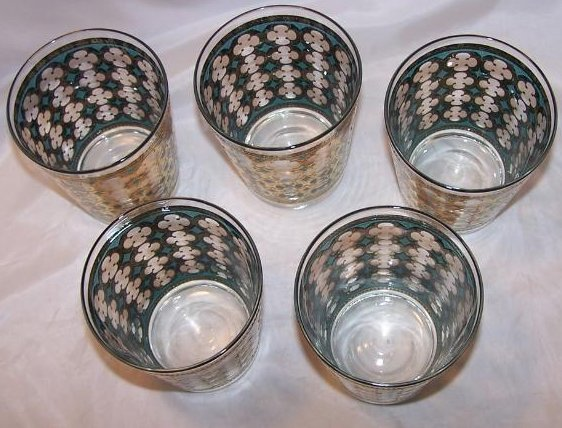 Image 1 of Gold, Blue Design Five Glass Cup Tumbler Set, II Washington