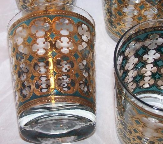 Image 2 of Gold, Blue Design Five Glass Cup Tumbler Set, II Washington