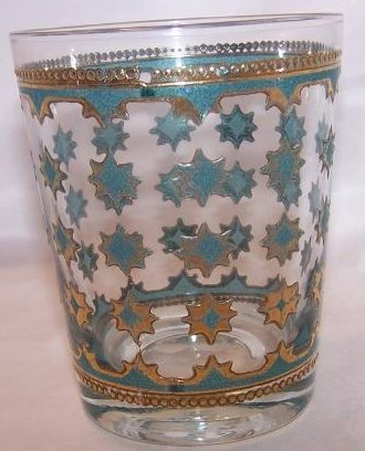 Gold, Blue Starburst Design Glass Cup Tumbler