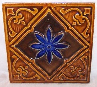 Gresvfl Portugal Tile, Ceramic, Brown, Blue Flower