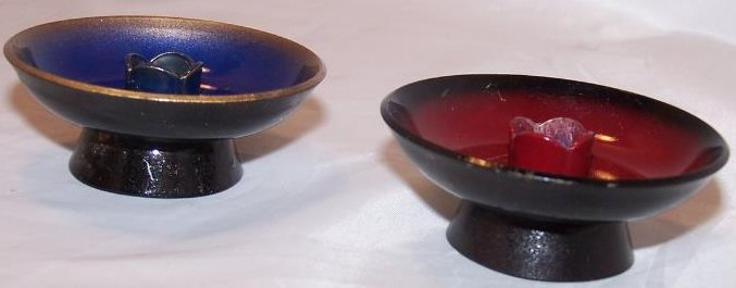 Candleholders Enamel Clad Copper Blue, Red