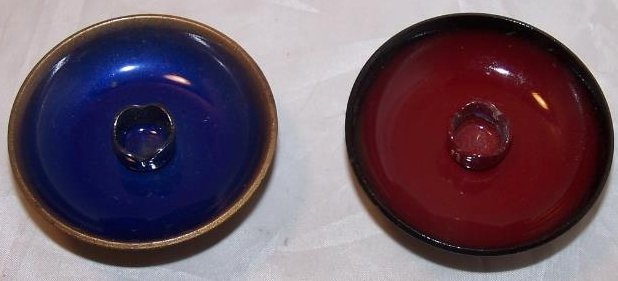 Image 1 of  Candleholders Enamel Clad Copper Blue, Red