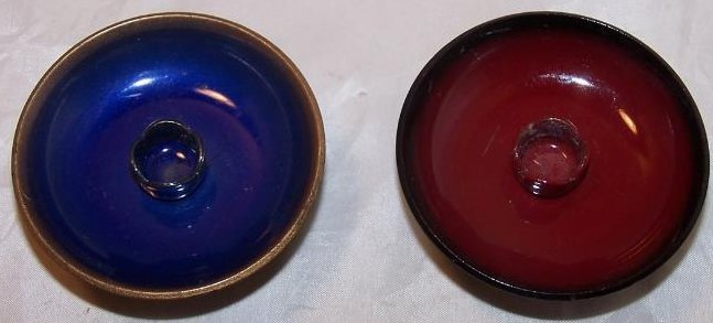 Image 3 of  Candleholders Enamel Clad Copper Blue, Red
