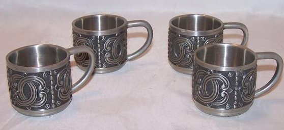 Pewter Espresso Four Cup Set, Groenlandica Tinn Norway