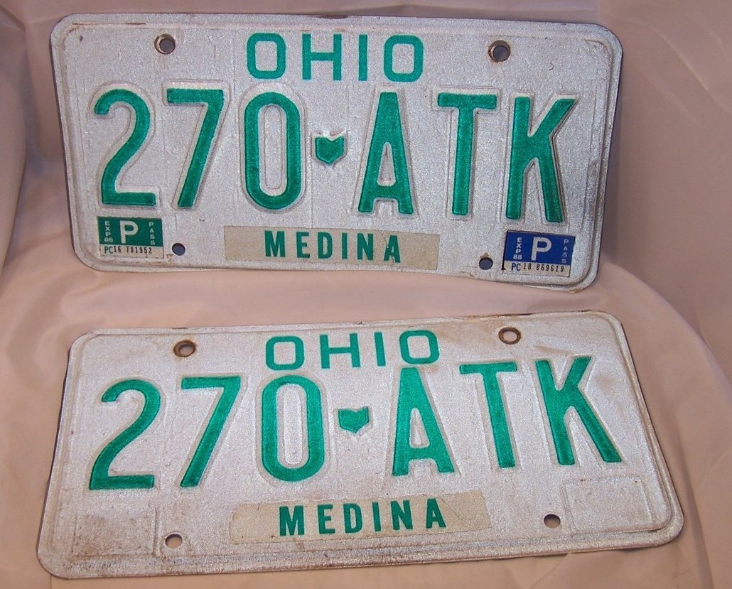 270 ATK Double License Plate Set, Ohio, 23 Years Old