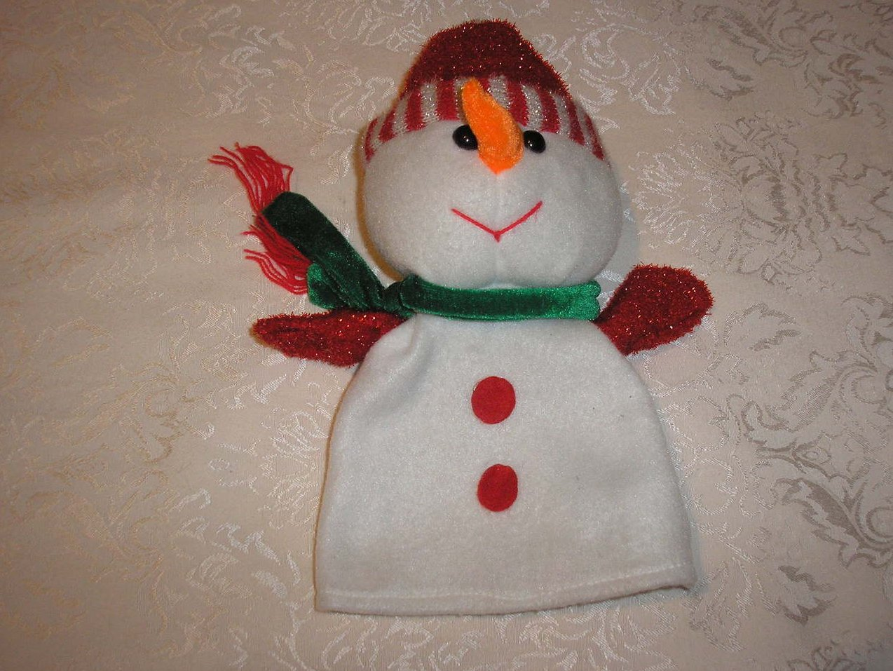 Christmas Snowman Sparkly Hand Puppet 12 inches gently used