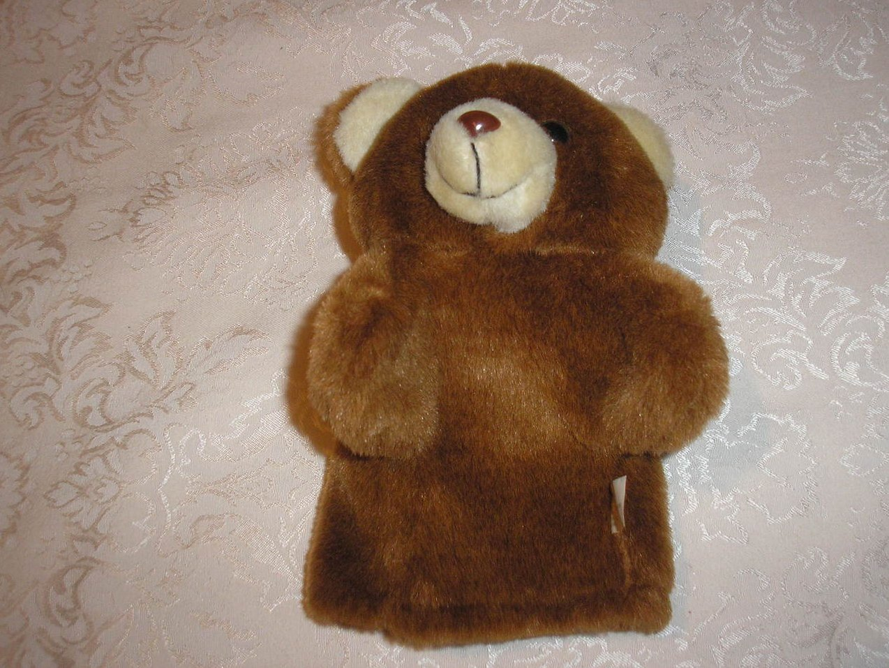Plush Brown Bear Hand Puppet 9 inches very gently used