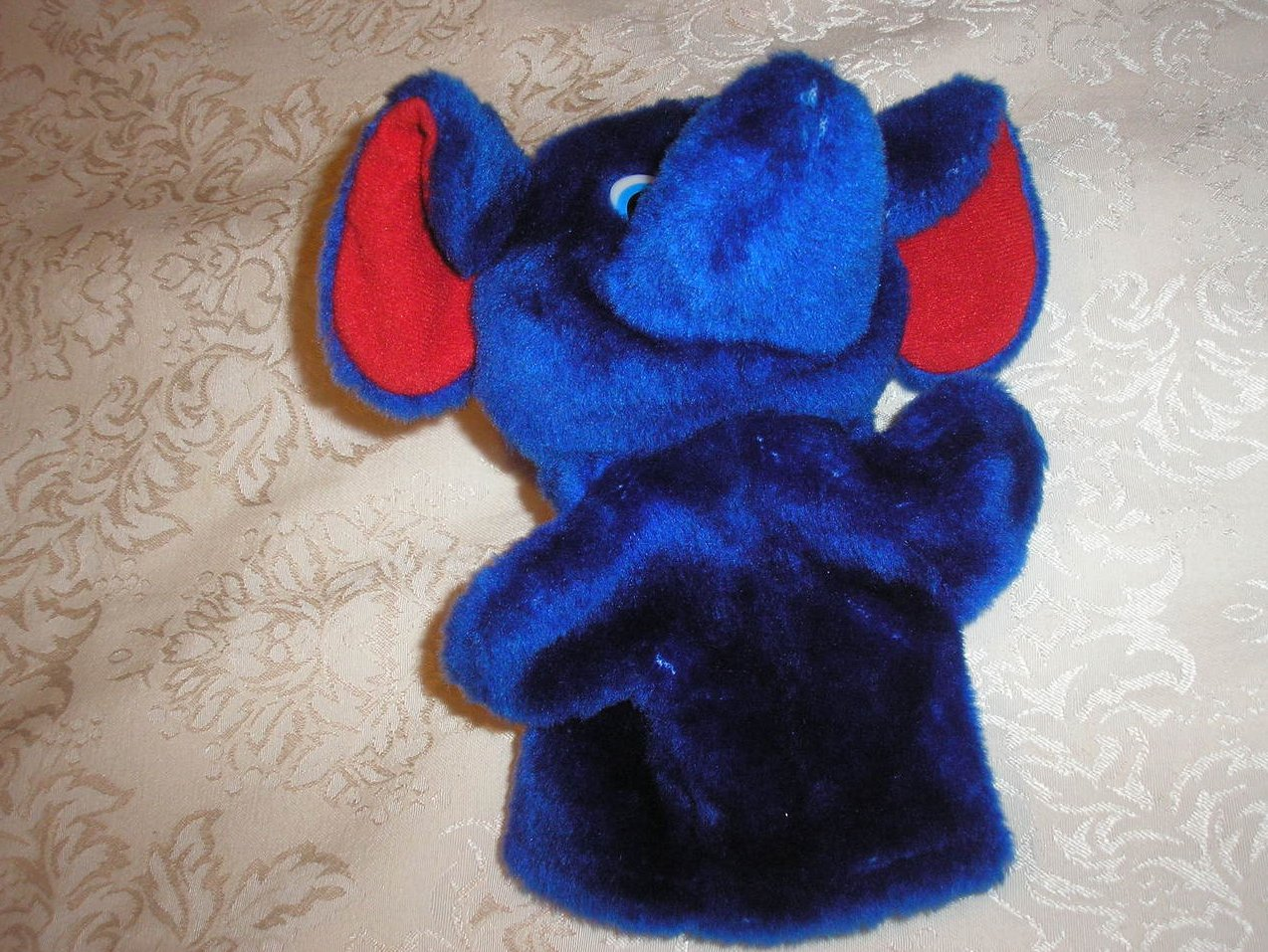 Plush Blue Elephant Hand Puppet 9 inches very gently used