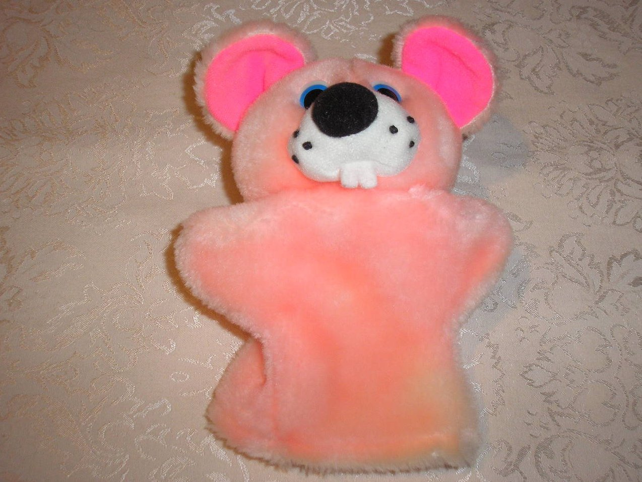 Plush Pink Animal Hand Puppet 9 inches gently used