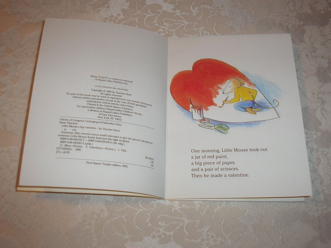 Image 2 of Little Mouse's Big Valentine Thacher Hurd good sc