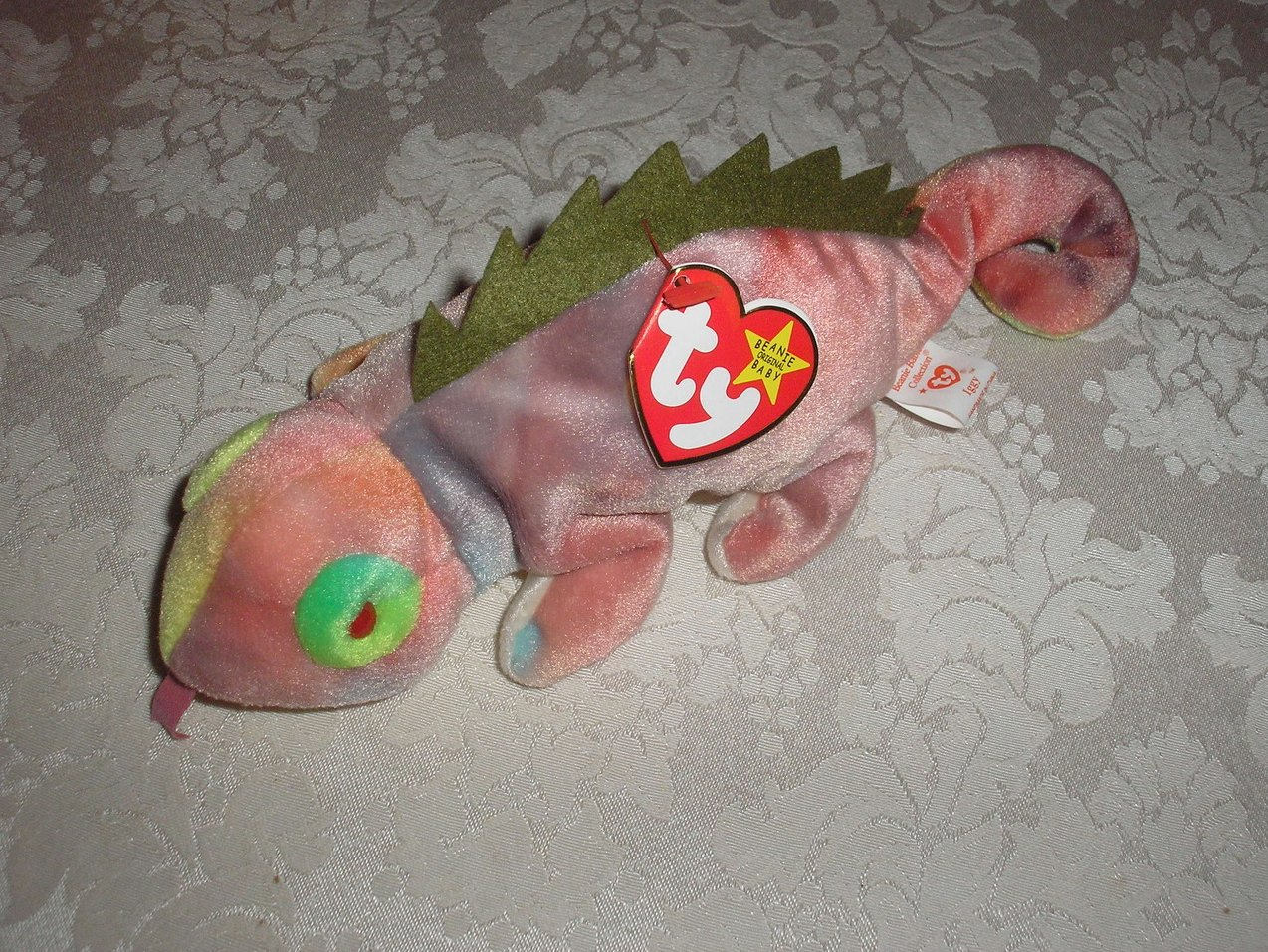 Ty Original Beanie Baby Iggy Iguana with tongue August 12, 1997