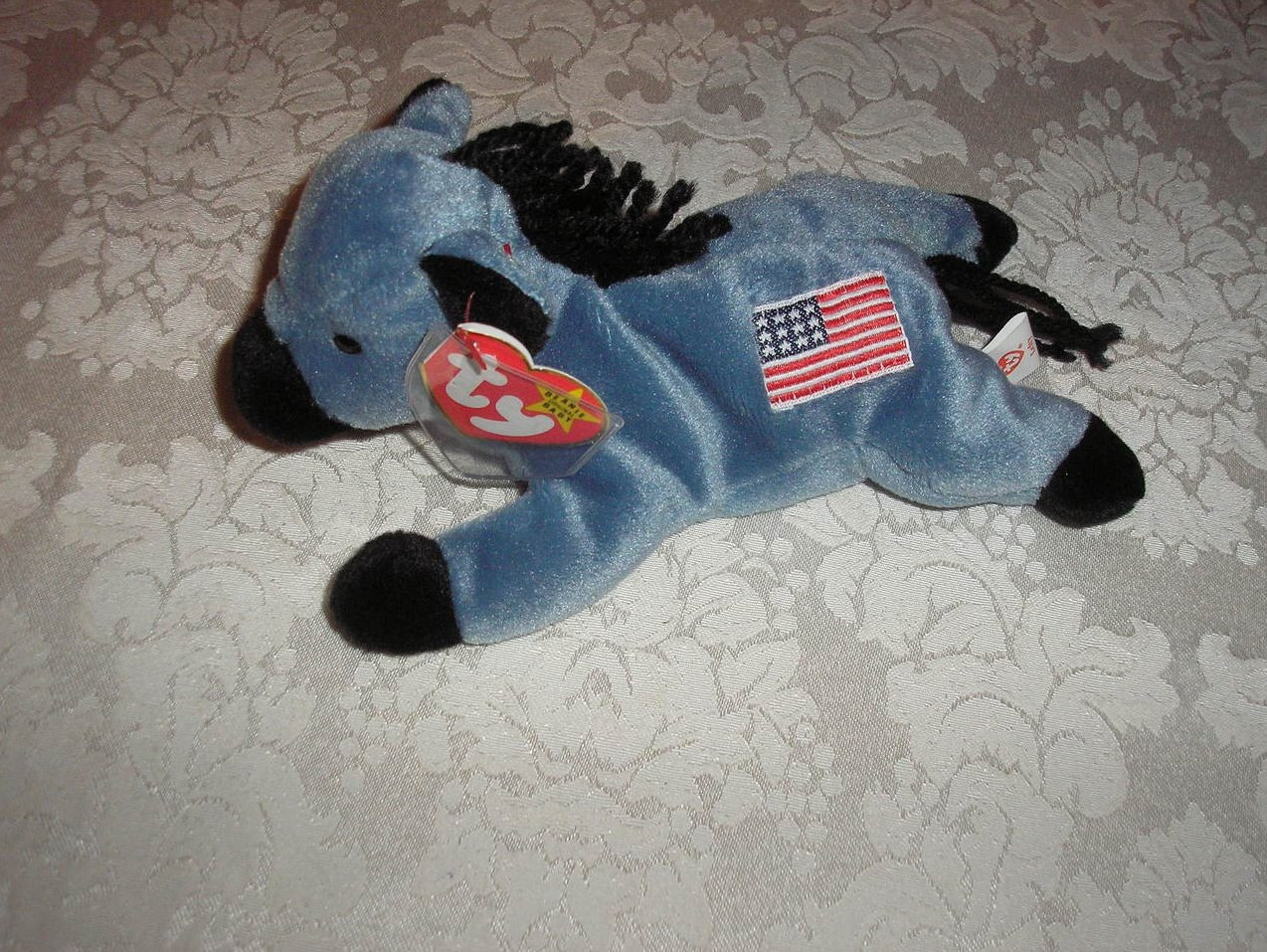 Ty Original Beanie Baby Lefty Donkey July 4, 1996