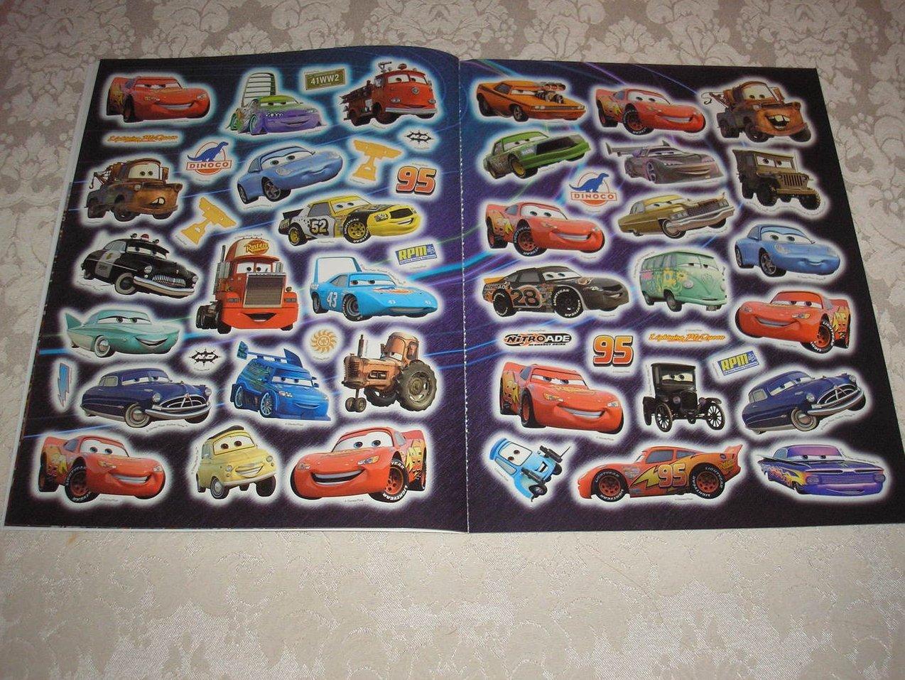 Image 3 of Disney Pixar Cars reusable glow in the dark Go With the Glow Stickers Book new