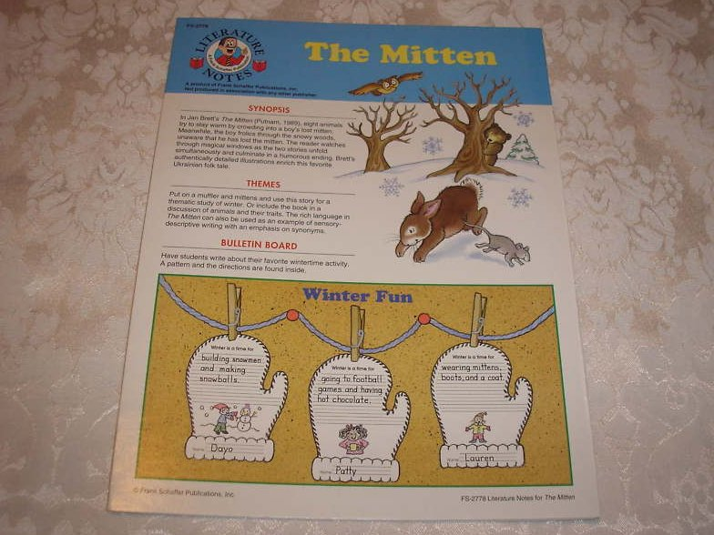 The Mitten Literature Notes Frank Shaffer brand new
