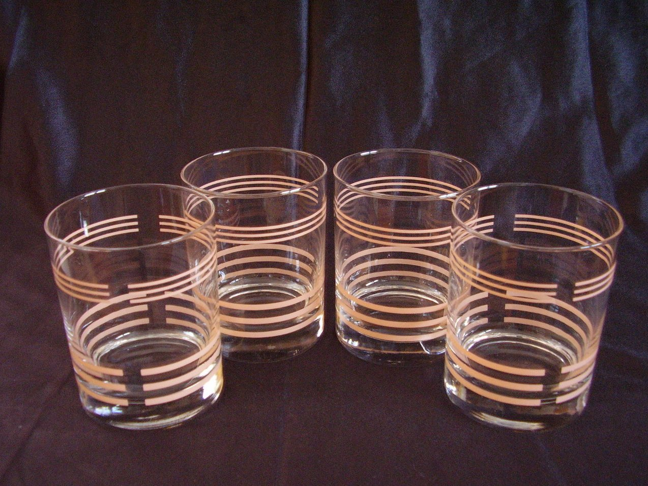 Apricot Rocks Old Fashions Drink Glasses New Set of 4