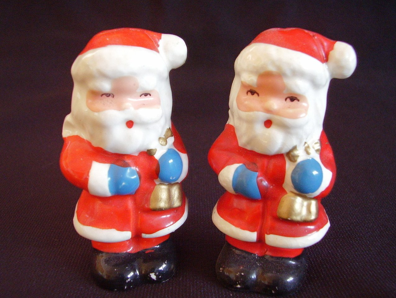 Vintage Mini Santa Salt Pepper Shakers