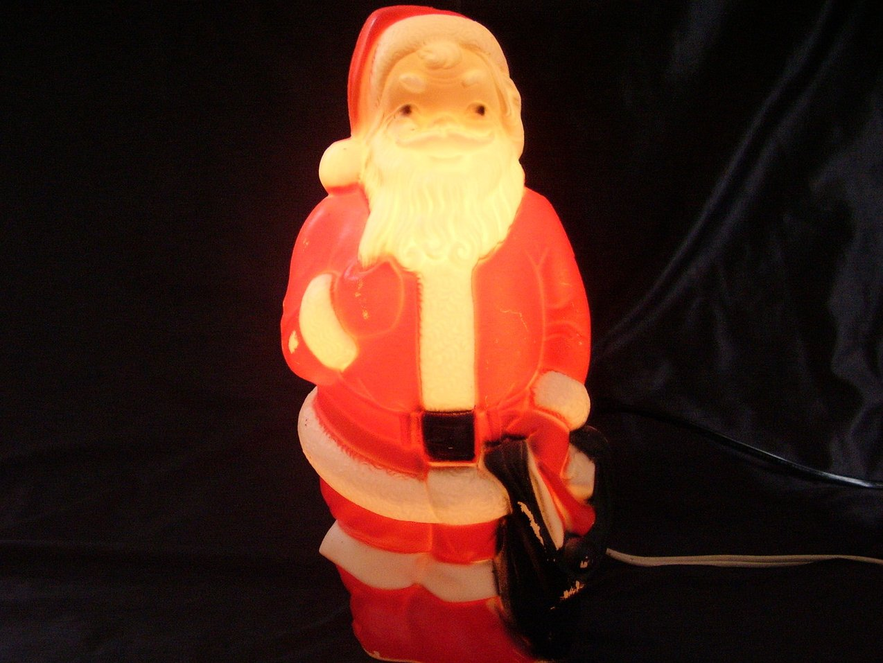 Vintage Plastic Lighted Santa