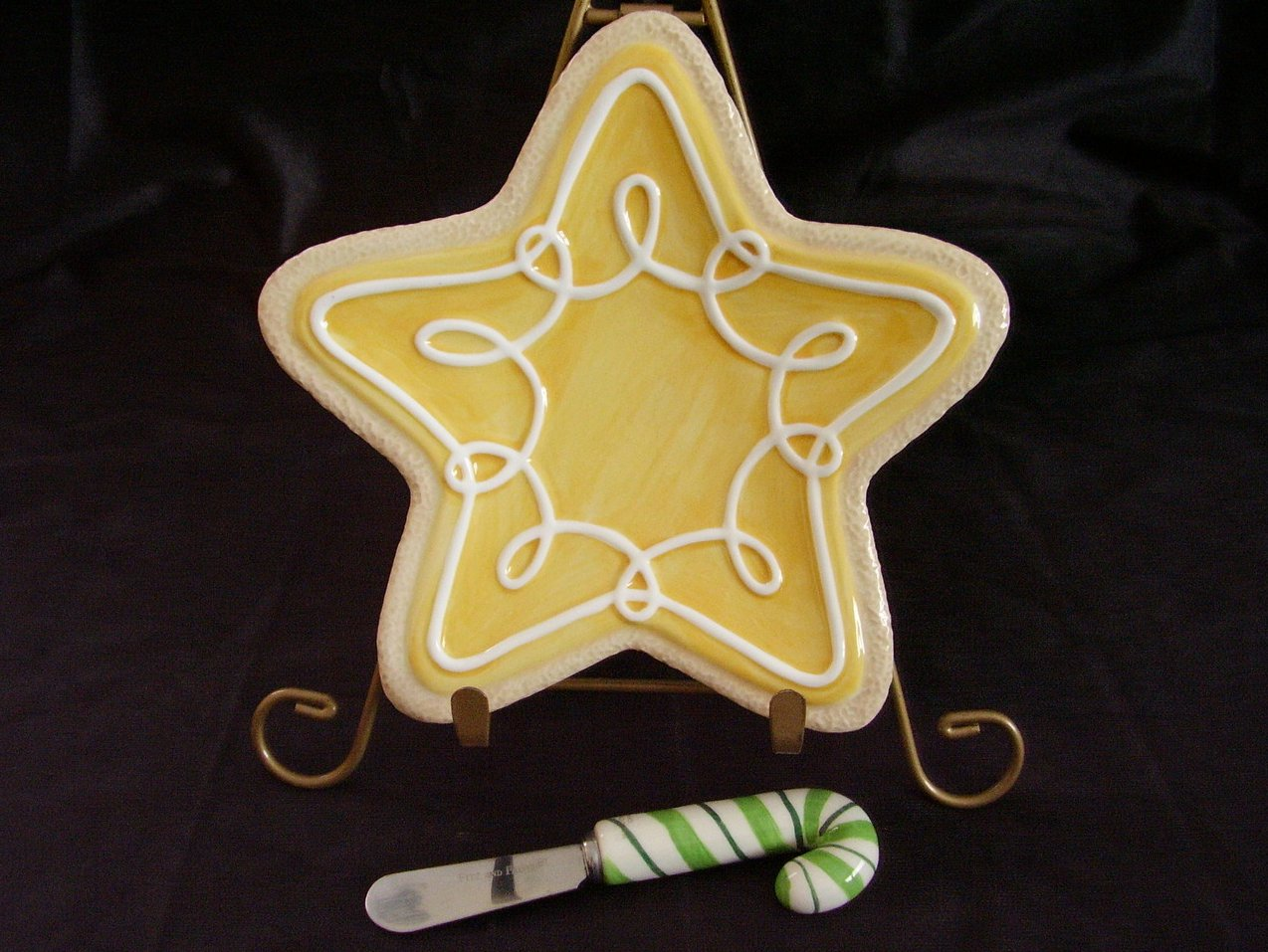 Fitz Floyd Yellow Star Cookie Canape Dish With Spreader