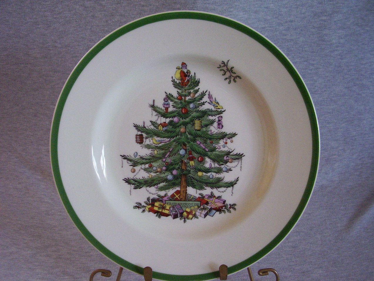 Spode Christmas Tree Dinner Plate Green Trim