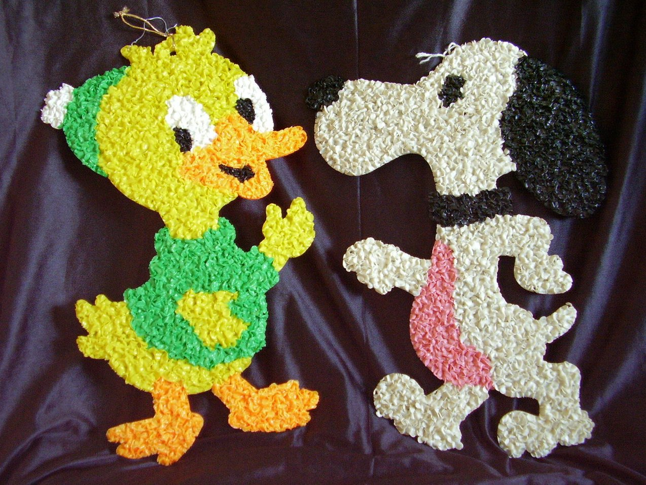 Melted Plastic Popcorn Decorations Duck Snoopy Lot of 2