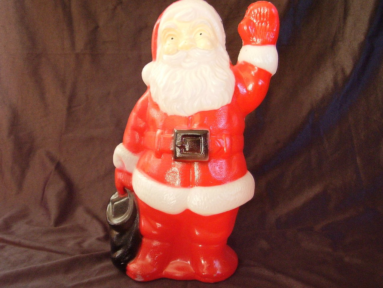 Santa Plastic Lighted Blow Mold Christmas Vintage 13 1/4 In Tall