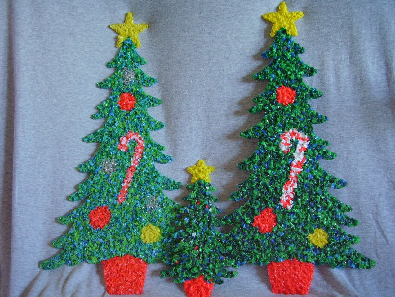 Melted Plastic Popcorn Decorations Two Large One Small Christmas Trees