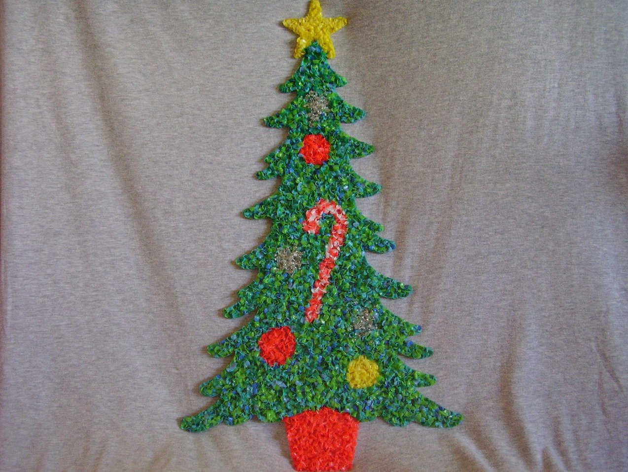 Melted plastic popcorn decorations two large one small Large decorated christmas trees
