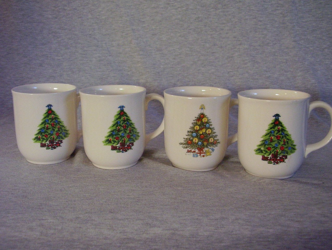Mt. Clemens Pottery Christmas Tree Mugs Mixed Set of 4 Vintage