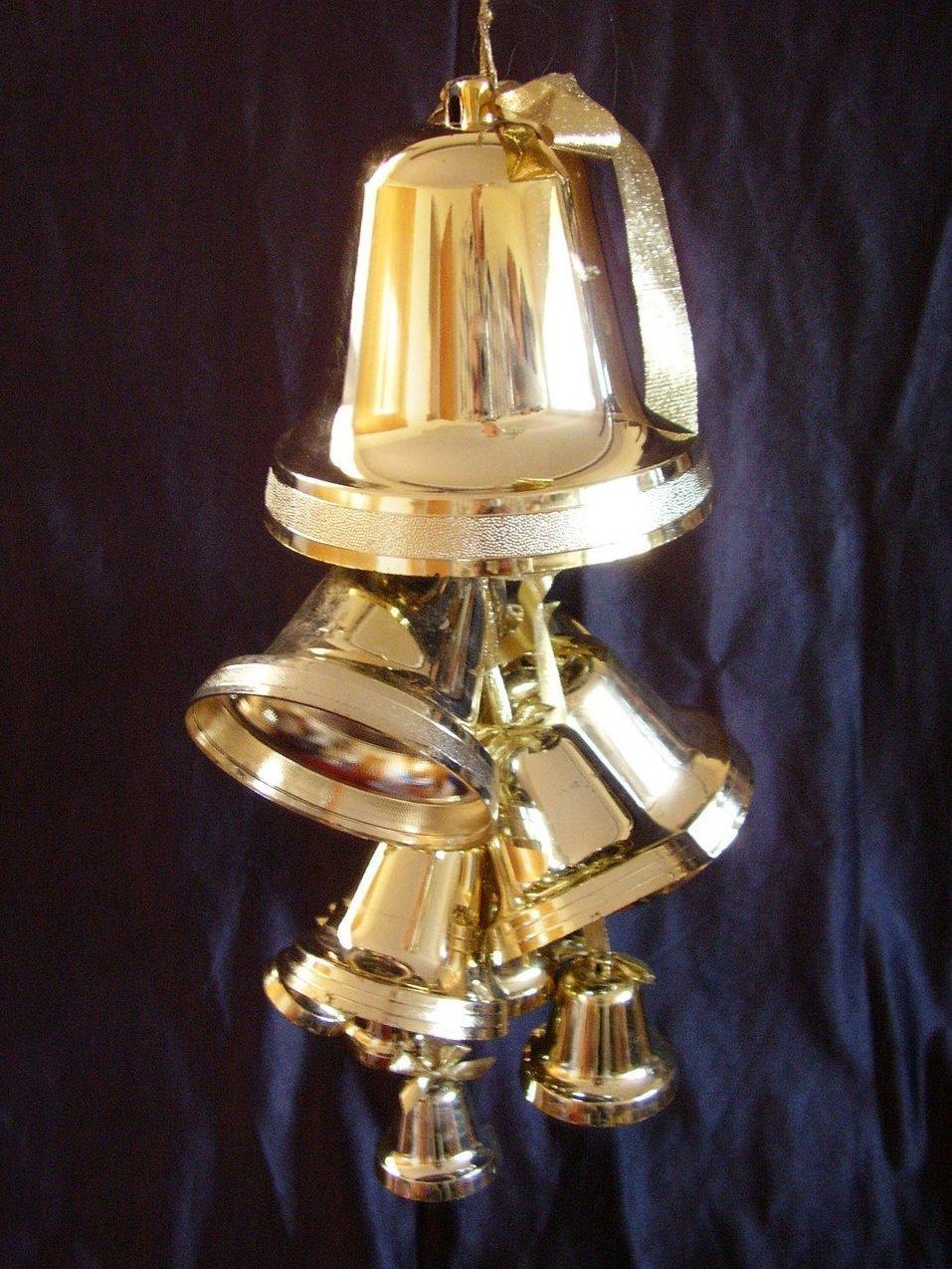 Christmas Hanging Gold Plastic Bells Set of 16