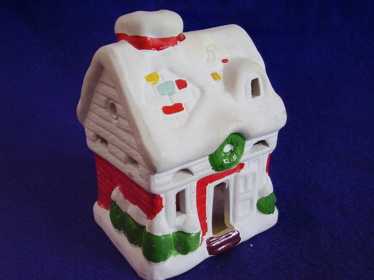 Christmas Ceramic Small House Votive Candle Holder