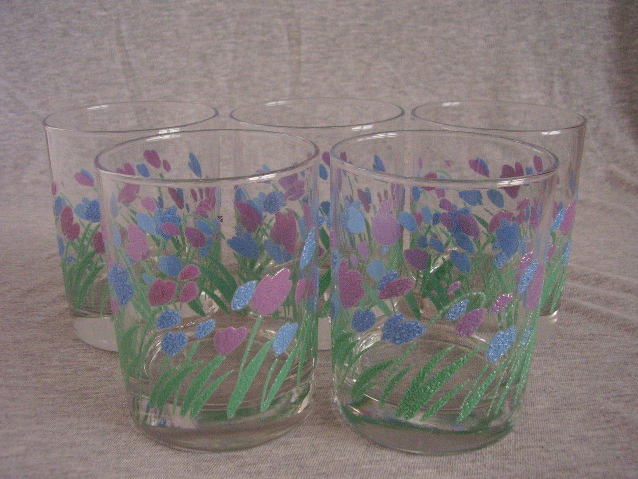 Spring Pink Blue Tulip Flowers Drinking Glasses Rocks Tumblers