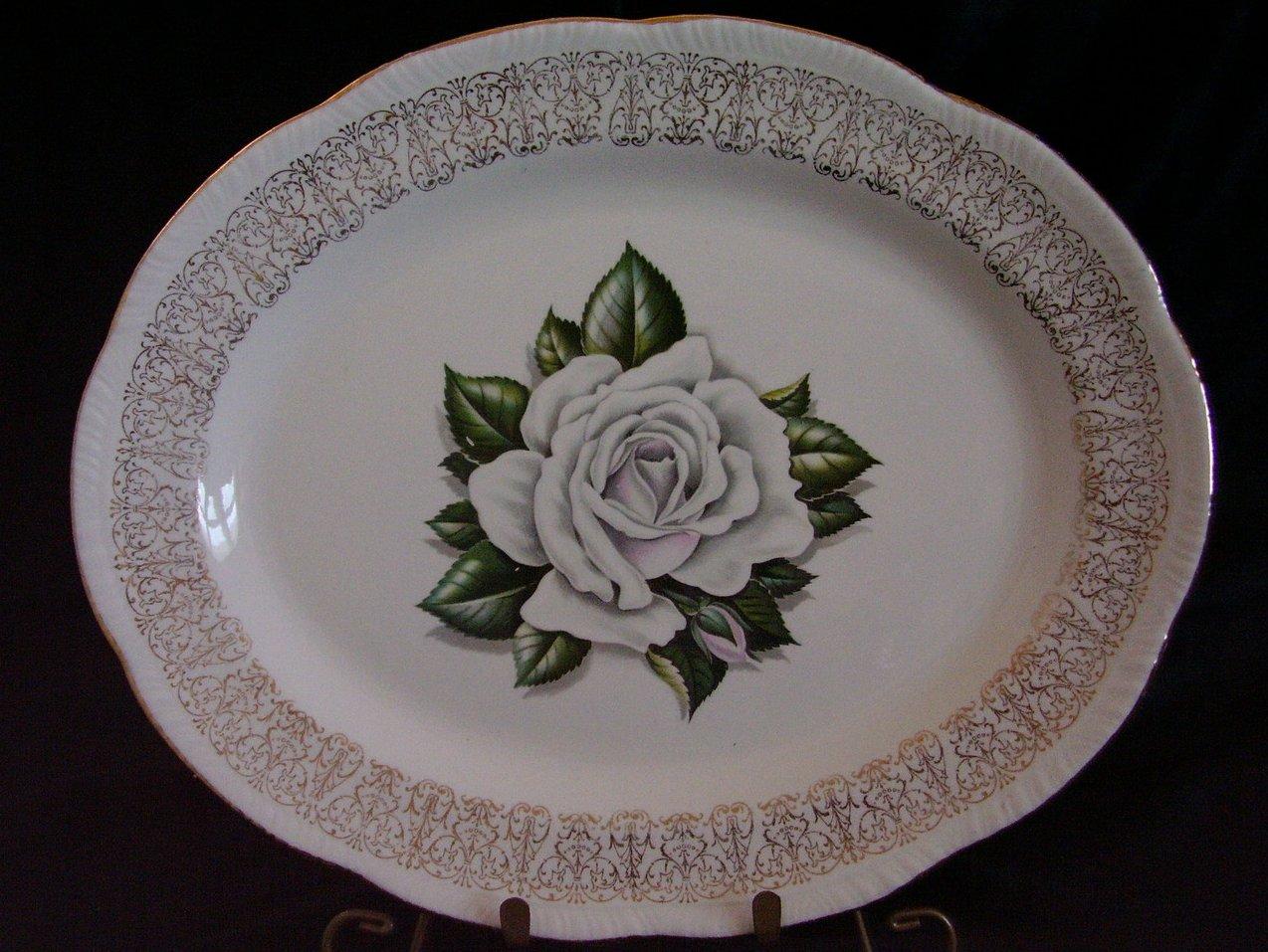 Homer Laughlin Windsor White Rose Platter Liberty Shape